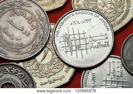 Coins of Jordan. Jordanian 10 piastres (qirsh) coin.