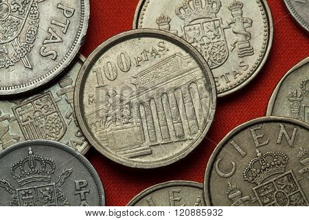Coins of Spain. Prado Museum and Velazquez Monument in Madrid, Spain depicted in the Spanish 100 peseta coin (1994).
