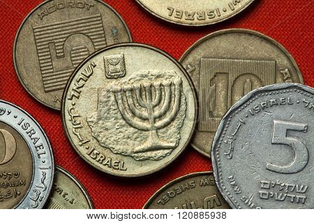 Coins of Israel. Menorah depicted in the Israeli ten agorot coin. poster