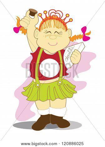 Girl And Chocolate Presenter Cartoon