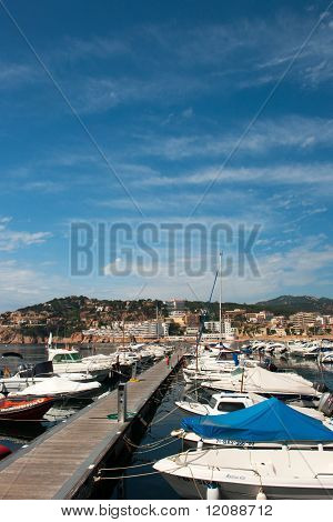 harbor with boats in San Feliu de Gauxols poster