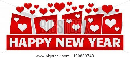 Happy New Year Red Hearts On Top