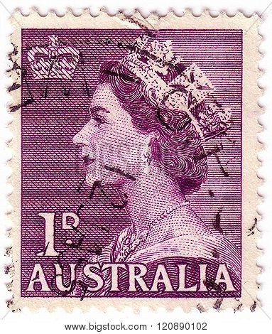 Australia - Circa 1953: Stamp Printed By Australia Shows Queen Elizabeth Ii, Circa 1953