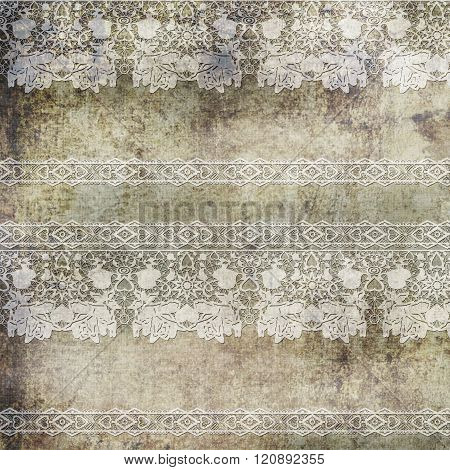 Lace Seamless Pattern With Roses And Lace Grunge Background