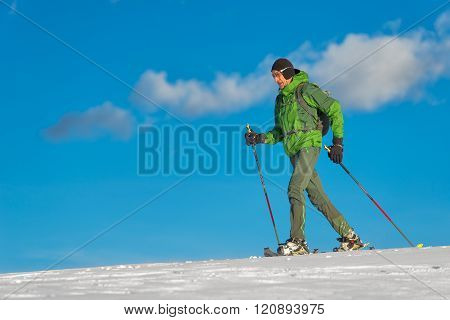 Beautiful Shot Of Hiker In Mountain In Winter Season.