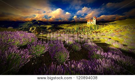 Castle towering 9ver lavender fields
