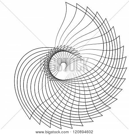 Abstract spiral element motif isolated on white background poster