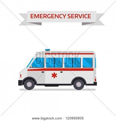 Ambulance car vector illustration. Ambulance car isolated on white background. Ambulance car vector icon illustration. Ambulance car isolated vector. Ambulance car silhouette