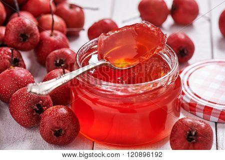 Jar With Teaspoon Jelly Hawthorn