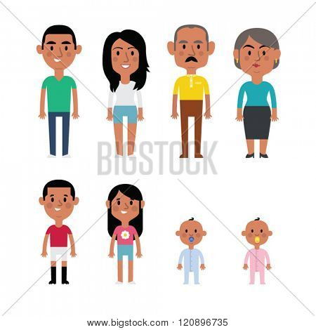 Flat vector hispanic family members. Parents, grandparents, children and baby.