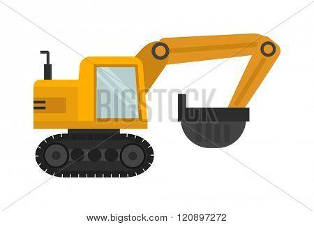 Vector excavator illustration. Vector excavator isolated on white background. Vector excavator icon illustration. Vector excavator isolated. Vector excavator silhouette
