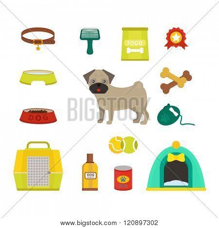 Pug dog symbols vector illustration. Pug dog symbols isolated on white background. Pug dog symbols vector icon illustration. Pug dog symbols isolated vector. Pug dog symbols silhouette