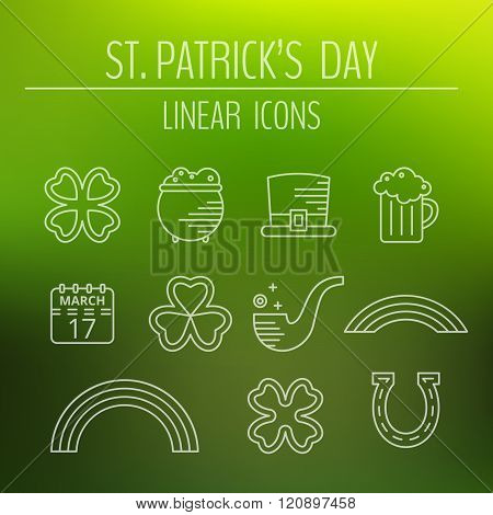 St. Patricks day linear icons set.
