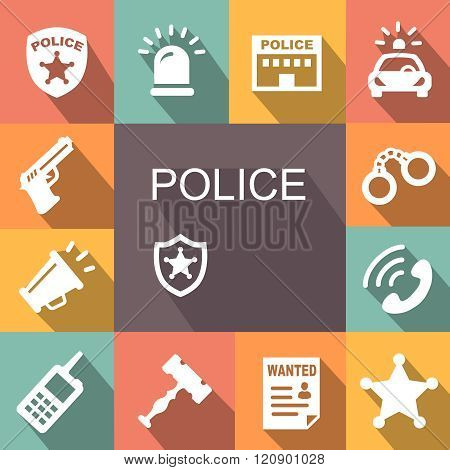 police icons set with shadow