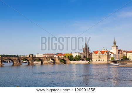 Charles Bridge And Tower In Prague In The Czech Republic