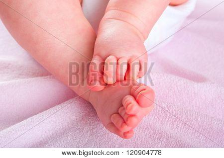 Newborn baby feet.