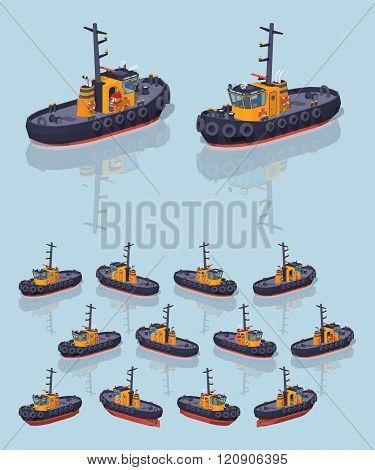 Low poly orange and black tugboat