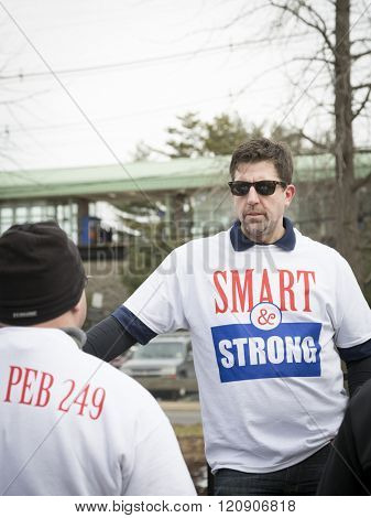 MAR 5, 2016 - WOODBRIDGE, NJ: Dan Schneider, Vice Local Chairman for SMART TD on the stage after the rally held in support of 11 railway labor unions one week before the NJ Transit strike deadline.