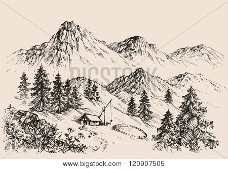 Mountains landscape and a sheepfold / farm sketch