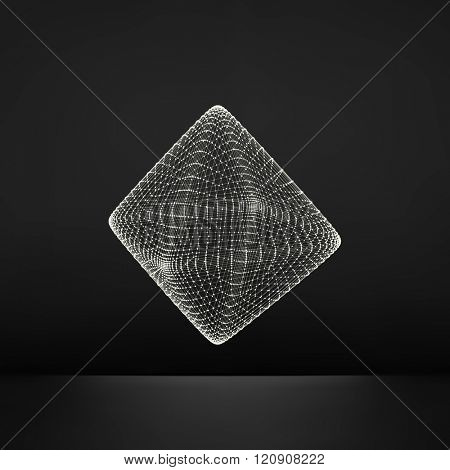 Vector Transparent Octahedron. Wireframe Object with Dots. Abstract 3D Connection Structure. Geometric Shape for Design. Lattice Geometric Element. Molecular grid. 3D Technology Style with Particle