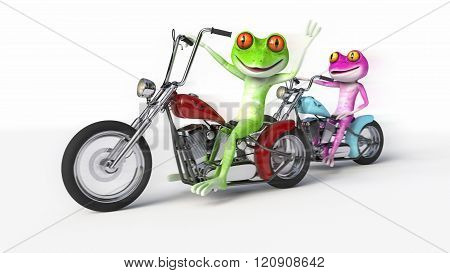 Two Frogs Riding Motorcycles