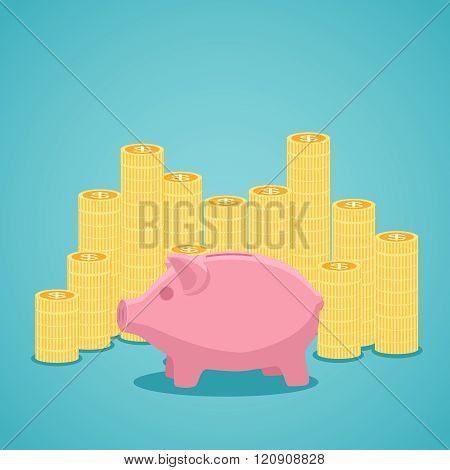 Pink piggy bank and stacks of gold coins.