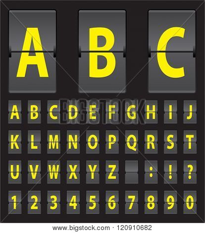 yellow vector alphabet of black mechanical panel