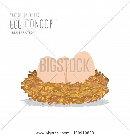 Eggs In A Nest Made Of Straw Flat Vector.