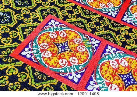 Closeup Patterned Dyed Sawdust Lent Carpet, Antigua, Guatemala