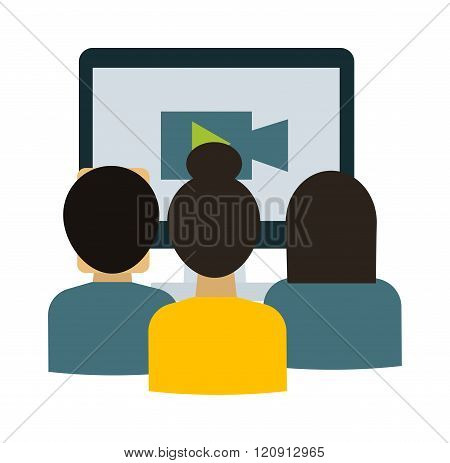 Webinar students vector illustration