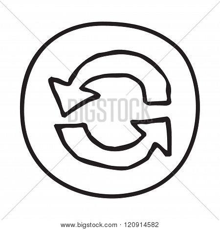 Doodle Recycle Arrows icon.