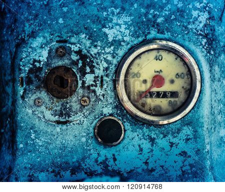 Grungy Blue Moped Speedometer