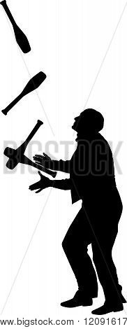 silhouette of juggler with maces  - vector illustration