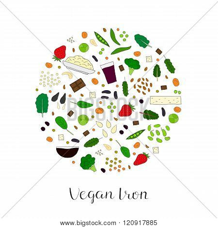 Hand drawn vegan iron products in circle.