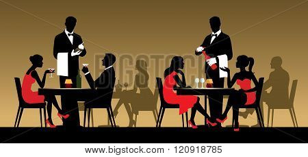 Silhouettes Of People Sitting At Tables In A Restaurant Or Night Club