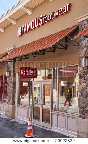 MONTREAL CANADA - MARCH 6 2016 - Famous Footwear outlet in Premium Outlets Montreal. The Premium Outlets is the second Premium Outlet Center in Canada located in Mirabel Quebec.