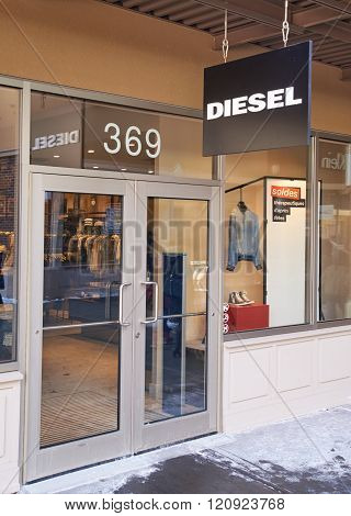 MONTREAL CANADA - MARCH 6 2016 - Diesel outlet in Premium Outlets Montreal. The Premium Outlets is the second Premium Outlet Center in Canada located in Mirabel Quebec.
