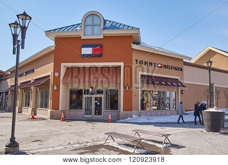 MONTREAL CANADA - MARCH 6 2016 - Tommy Hilfiger outlet in Premium Outlets Montreal. The Premium Outlets is the second Premium Outlet Center in Canada located in Mirabel Quebec.