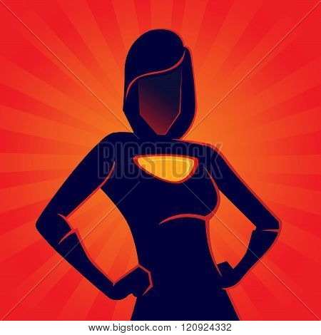 Female Superhero Silhouette With Red Background