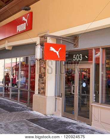 MONTREAL CANADA - MARCH 6 2016 - Puma outlet in Premium Outlets Montreal. The Premium Outlets is the second Premium Outlet Center in Canada located in Mirabel Quebec.