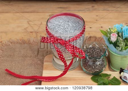 Chia Seeds With Milk For Health Delicious.