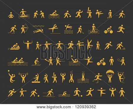 Vector sports icons set. Gold shapes athletes for popular sports. Cool icons sportsmen. Vector gold figures sportsmen.