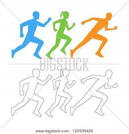 Vector figures athletes on a white background. Line running symbol. Linear shapes runners. Vector silhouettes runners. Running icon and symbol. Outline shapes runners.