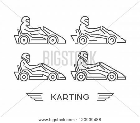 Linear go kart symbol. Vector figures art racer. Outline karting icons. Vector line kart. Vector karting logo.