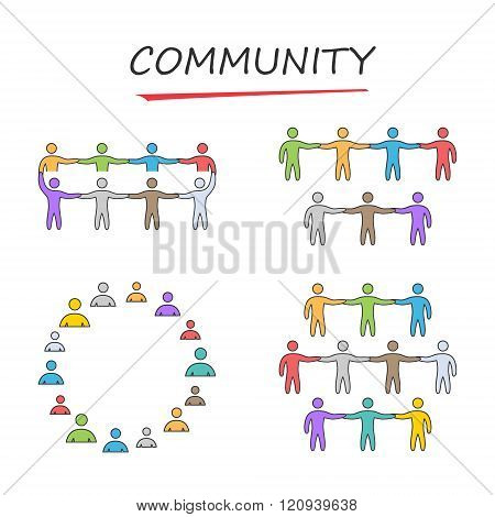 Linear community symbol. Vector icons set for the community. Outline community logo. Vector people community.