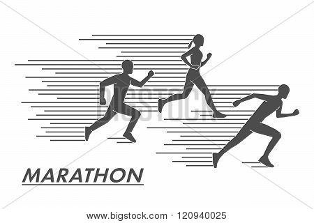 Vector Silhouettes Marathoners. Black Figures Marathon Runners.