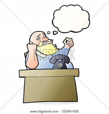 cartoon arrogant boss man with thought bubble