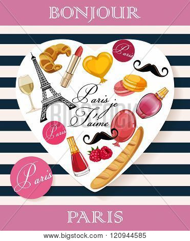 Vector french poster. Heart shape
