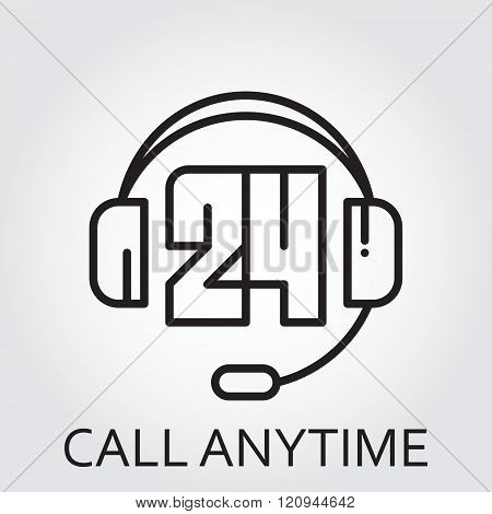 Black flat line vector icon with a picture of call anytime
