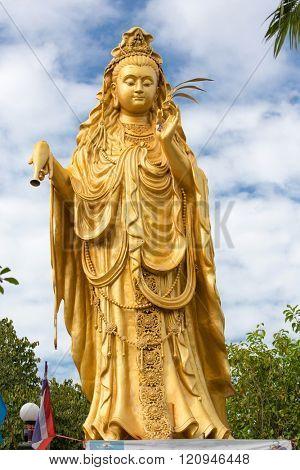 Guanyin chinese goddess statue in the wat Samphran temple near Bangkok, Thailand